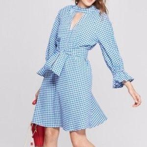 Main Street Blue Gingham Blouson Sleeve  Dress